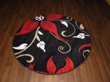 MODERN NEW 120X120CM CIRCLE RUGS WOVEN BACK HAND CARVED BLACK/RED LILY LOVLEY